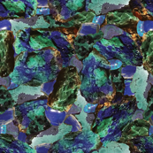 Gems + Minerals 9: Azurite, Turquoise + Malachite in Blue and Green