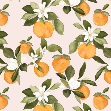 Orange blossom on pink fabric by mintpeony on Spoonflower - custom fabric