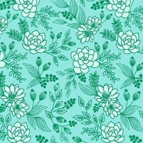 Succulent Lace Green on Mint