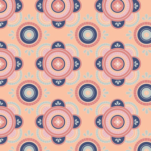 Mosaic Pattern Peaches and Navy