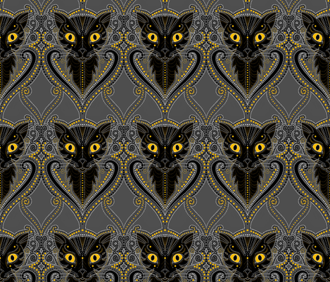 Black cat Halloween damask fabric by beesocks on Spoonflower - custom fabric