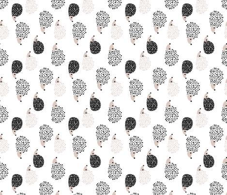 Scandinavian sweet hedgehog illustration for kids gender neutral black and white rotated fabric by littlesmilemakers on Spoonflower - custom fabric
