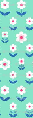 Retro Flowers Mint and Pink