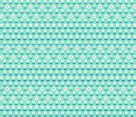 Retro Flowers Mint and Pink fabric by hazelfishercreations on Spoonflower - custom fabric