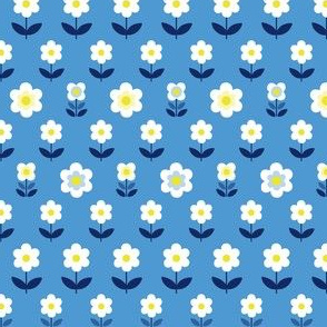 Retro Flowers Navy Blue