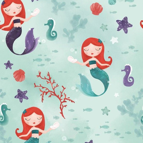 Watercolor redhead mermaids mint and purple