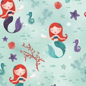 Watercolor redhead mermaids mint and purple