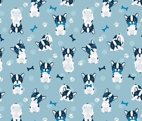 Frenchie Blue French Bulldog fabric by ewa_brzozowska on Spoonflower - custom fabric
