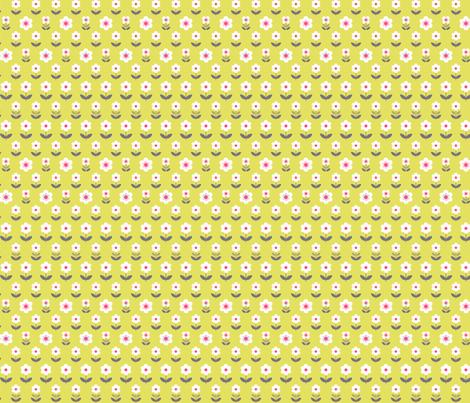 Retro Flowers Mustard and Grey fabric by hazel_fisher_creations on Spoonflower - custom fabric