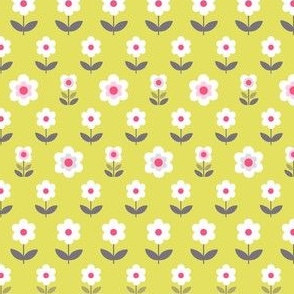 Retro Flowers Mustard and Grey
