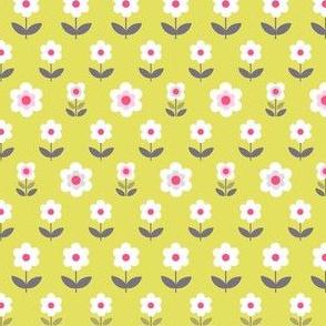 Retro Flowers Mustard and Grey