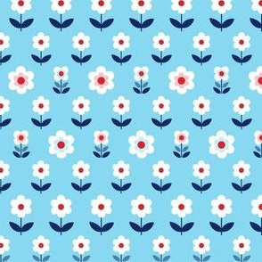 Retro Flowers Blue, Red and White