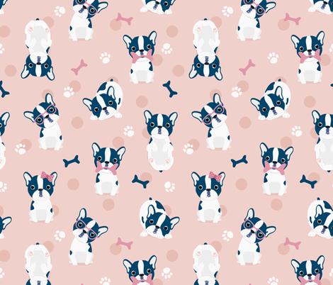 Frenchie - Pink French Bulldog fabric by ewa_brzozowska on Spoonflower - custom fabric