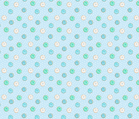 Small Donuts and Spotty Blue fabric by hazel_fisher_creations on Spoonflower - custom fabric