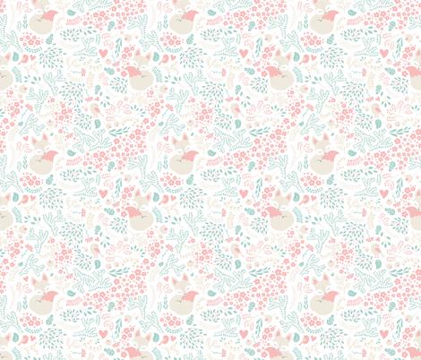 Sleeping Fox - white peach mint fabric by ewa_brzozowska on Spoonflower - custom fabric