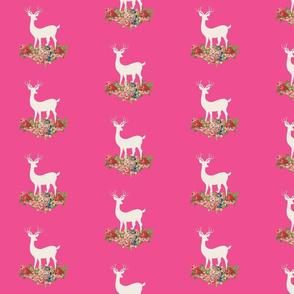 deer cream rose bouquet 525-  hottie pink