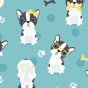 Frenchie - grey with yellow on mint