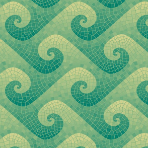 wave mosaic - green and gold