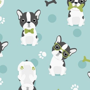 Frenchie - french bulldog grey with green and mint