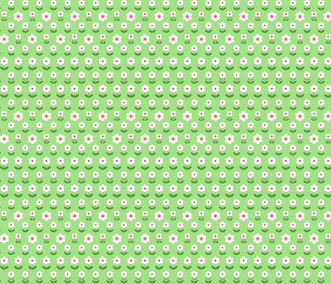 Retro Flowers Green, White and Pink fabric by hazel_fisher_creations on Spoonflower - custom fabric