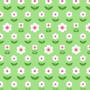 Retro Flowers Green, White and Pink