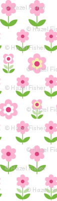 Retro Flowers White, Pink and Green