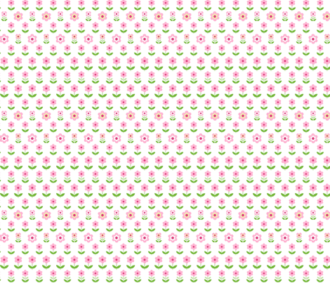 Retro Flowers White, Pink and Green fabric by hazel_fisher_creations on Spoonflower - custom fabric