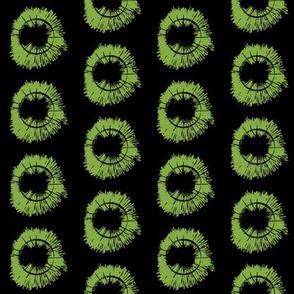 Tree Flowers half _Bright Green on Black ground