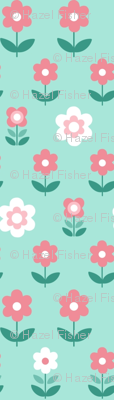 Retro Flowers Duck Egg and Coral