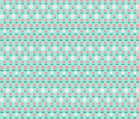 Retro Flowers Duck Egg and Coral fabric by hazel_fisher_creations on Spoonflower - custom fabric