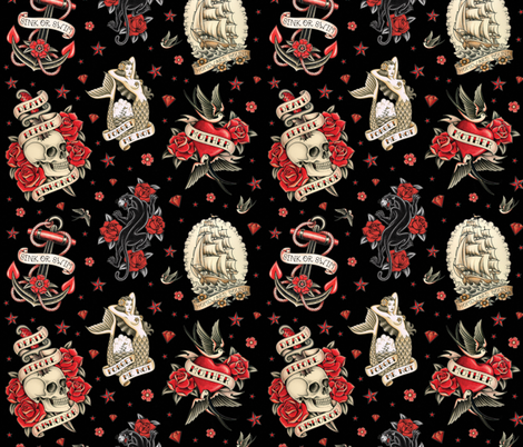 OLD SCHOOL TATTOO BLACK fabric by crixtina on Spoonflower - custom fabric