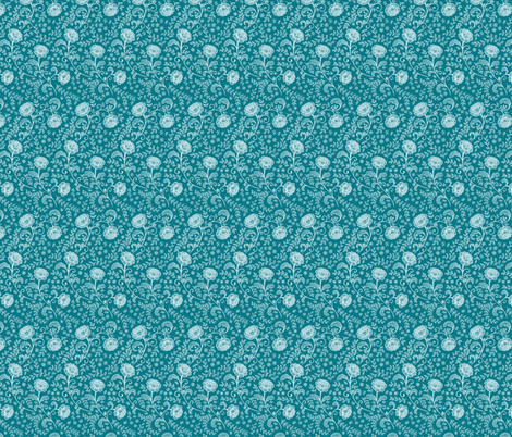 Lace White on Teal fabric by hazel_fisher_creations on Spoonflower - custom fabric