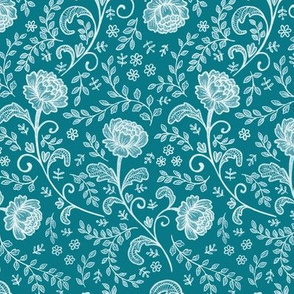 Lace White on Teal