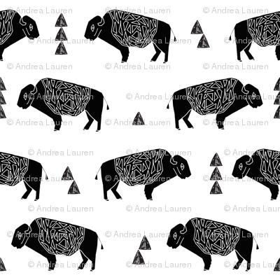 buffalo fabric // black and white nursery fabric baby americana design