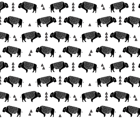 buffalo fabric // black and white nursery fabric baby americana design fabric by andrea_lauren on Spoonflower - custom fabric
