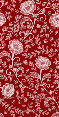 Lace white on deep red