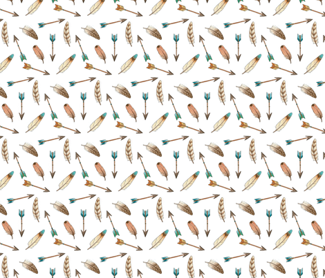 Scattered Feathers and Arrows - smaller fabric by hazelfishercreations on Spoonflower - custom fabric