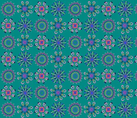 Mandala Doodles Teal fabric by gcave on Spoonflower - custom fabric