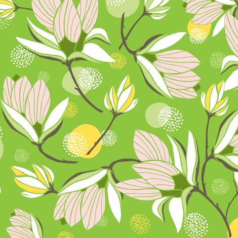 Magnolia Blossom - Floral Greenery fabric by heatherdutton on Spoonflower - custom fabric