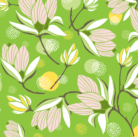 Magnolia Blossom - Floral Greenery fabric by heatherdutton on Spoonflower - custom fabric