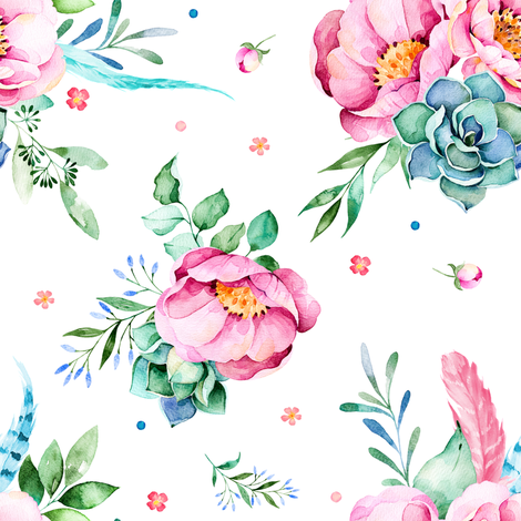 "8"" Aqua & Pink Floral Print / MIX & MATCH  fabric by shopcabin on Spoonflower - custom fabric"