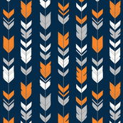 arrow Feathers- navy, orange, grey