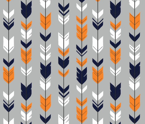 Arrow Feather - navy, orange, white on grey fabric by sugarpinedesign on Spoonflower - custom fabric