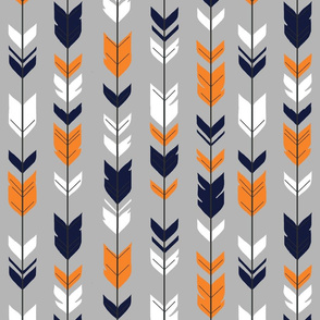 Arrow Feather - navy, orange, white on grey