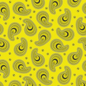 Yellow and Gray Peacock Paisley