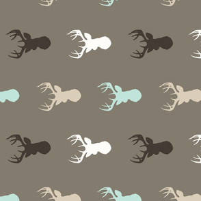 Rotated Deer - Mint, brown, tan, taupe, white