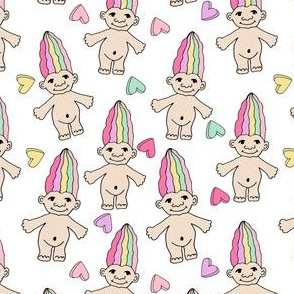90s nostalgia fabric // cute dolls toys pastel rainbows fabric hand-drawn cute design pastel and white design