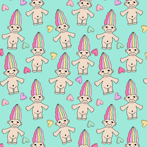 90s nostalgia fabric // cute dolls toys pastel rainbows fabric hand-drawn cute design rainbow pastel fabric by andrea_lauren on Spoonflower - custom fabric