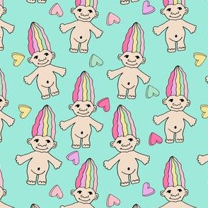90s nostalgia fabric // cute dolls toys pastel rainbows fabric hand-drawn cute design rainbow pastel
