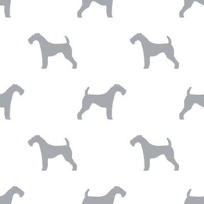 Airedale Terrier silhouette dog fabric  grey white